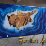 Art Cyprus sea RIVER COFFEE TABLE with blue epoxy resin and olive wood