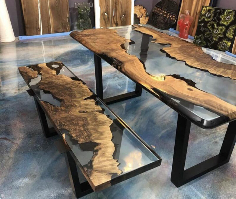Clear Epoxy Resin Table with Bench-Epoxy Walnut Dining Table