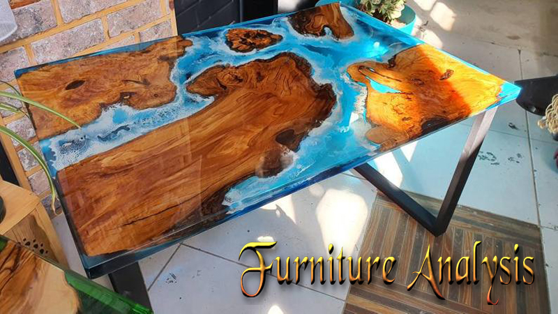 Coffee end olive wood sea waves cristal clear Epoxy Resin Table