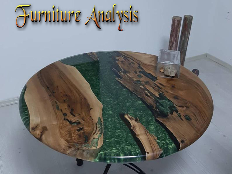 Epoxy Coffee Table with Resin River Round Walnut Wood