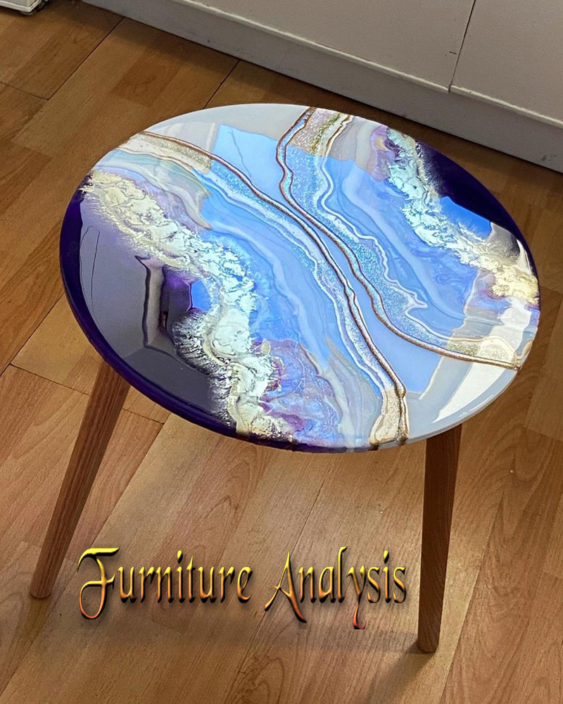 Hand painted Resin top side table