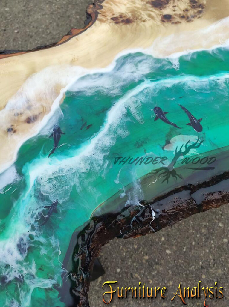 Table with shark-Clear epoxy resin table-Sea Wave Table